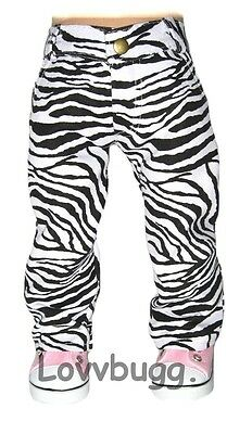 "Lovvbugg Zebra Jeans Black White Pants for 18"" American Girl Doll Clothes"