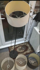 x2 Long Lamps Vintage With 3 Lampshades RARE BARGAIN READ DESCRIPTION