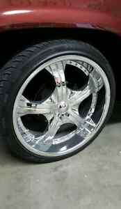22 inch chrome wheels and tires for GM truck 5 Bolt