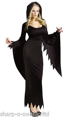 Ladies Sexy Scream Long Hooded Gown Robe Halloween Fancy Dress Costume Outfit (Scream Halloween Outfit)
