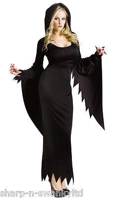 ng mit Kapuze Bademantel Halloween Kostüm Kleid Outfit (Halloween-kostüme Mit Langen Schwarzen Kleid)