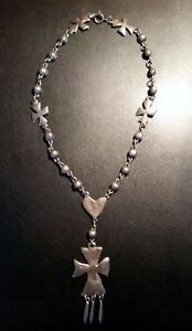 Vintage Pewter Cross & Hearts Necklace