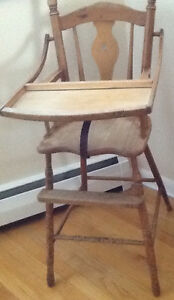 ANTIQUE HIGH CHAIR, STEP STOOL