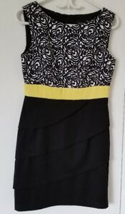 Yellow and black clour dress, S size