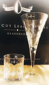Antique Tear Drop Hand Cut Lead Crystal Glasses x 8