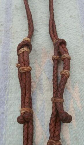 Vintage Braided Latigo Leather Rawhide Buttons Horse Headstall