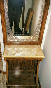two piece vanity mirror and shelving unit