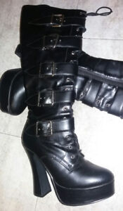'Electra' black leather high heel boots