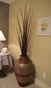Large Floor Urn With Twig Accents