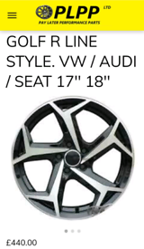 Golf R line style OEM Alloy wheels 17'' 18''