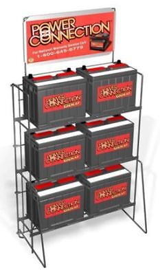 Floor 6 Battery Heavy Duty Display Rack - 3 Tier Sign Plate Black
