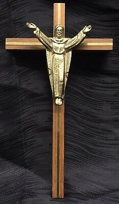 Vintage Antique Wall Brass and Wood Crucifix Cross Jesus Rare Catholic Church