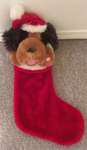 SINGING, DANCING BROWN DOG STOCKING