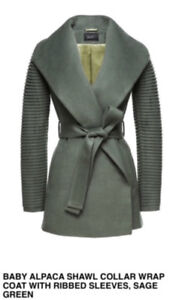 Sentaler Baby Alpaca Wrap Coat with Ribbed Sleeves, Sage Green L