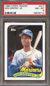 KEN GRIFFEY JR .... 1989 TOPPS TRADED ROOKIE .... PSA 8 and 9
