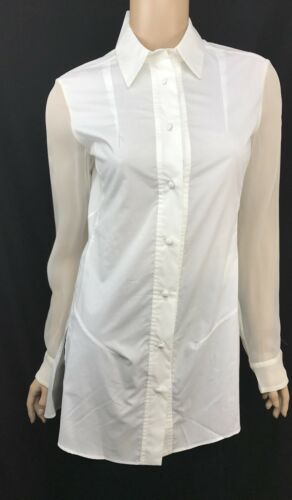 2351bd0b3bd94 Ter ET Bantine Cotton Long Top Tunic Ivory Sheer Long Sleeves NWT  535 Size  40 6