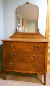 Antique dresser with mirror with three drawers solid wood
