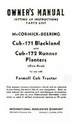 Mccormick Farmall Cub 171 172 Planter Operators Manual