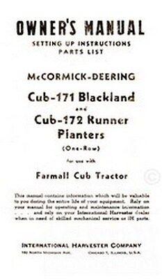 Mccormick Farmall Cub 171 172 Planter Operators Manual