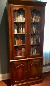 Elegant Two-Piece Cabinet/Bookcase
