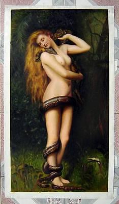 """Ölbilder Ölgemälde Gemälde auf Leinwand """"Lilith"""" (John Collier) 45cm x 85cm"""