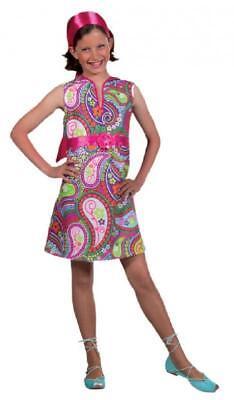 60er 70er Jahre Kleid Kostüm Flowerpower Kinder Hippie Hippy Hippiekostüm Party ()