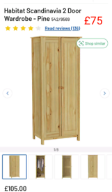 Scandinavian 2 door Wardrobe only £75. RBW Clearance Outlet Leicester