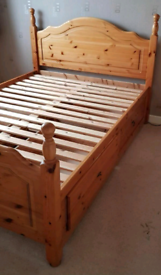 Pine frame double bed and mattress With 4 Storage Drawers