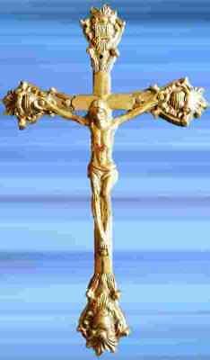 Crucifix Jesus Christ Reisekreuz Brass Religious Folk Art Antique Deco