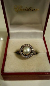NEW SOLID 925 STERLING SILVER TULIP FRESH WATER PEARL TOPAZ Ring