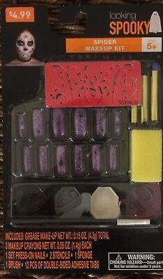 NEW! Looking Spooky Spider Makeup Kit w/Press-On Nails PLUS Adult Vampire Teeth