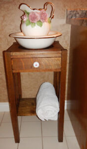 Antique Oak MISSION STYLE Wash Stand with Picher and Basin