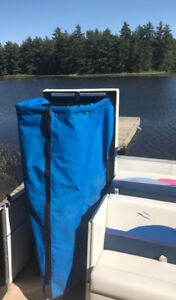 Portable toilet and popup privacypontoon boat enclosure