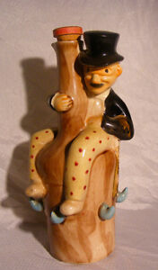 Antique Elbro Decanter Shape Of Tuxedo Man W/ Polka Dot Pants