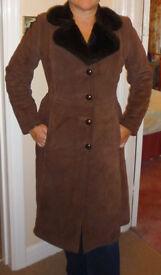 Luxury suede coat, fur-lined