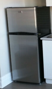 Used Stainless Steel Compact Fridge with Freezer
