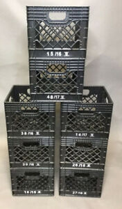 "Lot of 8 Black Stack-able Milk Crates 13"" x 13"" x 11"""