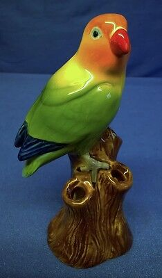 QUAIL CERAMIC ORANGE HEADED LOVE BIRD BUD VASE - EXOTIC PARROT MODEL FIGURINE