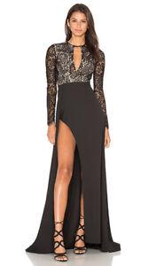 Elle  Zeitoune  - Alexandria Black  Lace Gown - Size 4