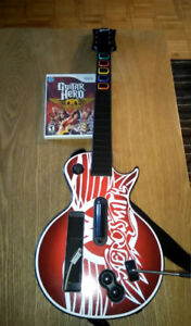 Aerosmith guitar hero game and guitar. Wii only.