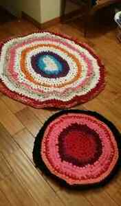 Homemade one of a kind rustic rag rugs