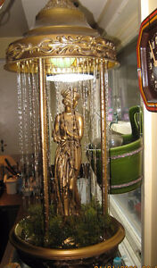 Vintage Goddess Statue Rain Swag Hanging Lamp Creation