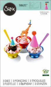 Sizzix 3pc thinlits TINY PARTY HATS cutting die - $12