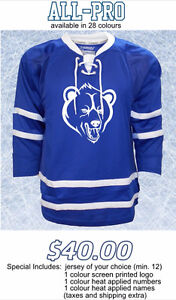 CUSTOM TEAM HOCKEY JERSEYS starting at $20/each!