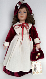 Porcelain Alicia Doll Collection on Collector Stand