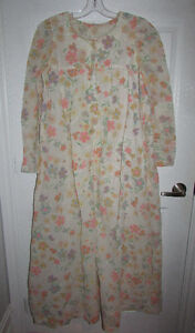 VINTAGE Flocked Floral Lined Long Nightgown