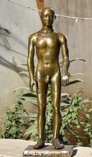 """24"""" Antique Old China Bronze Copper Naked Man People acupuncture point Statue"""