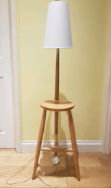 Habitat Wallace Oak Floor Lamp and Table with White Shade, used for sale  Barnes, London
