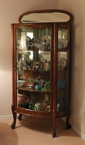 ANTIQUE CURVED GLASS OAK CHINA CABINET ALL ORIGINAL - IMMACULATE