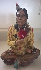 Seated Indian Chief Native American Statue Figurine